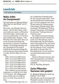 Leserbrief Karl Kling vom 11.3.2014